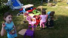 making a fun mess in the backyard